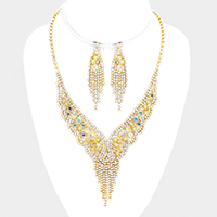 Rhinestone bubble fringe necklace