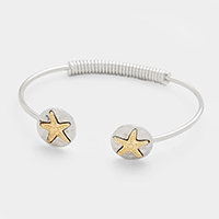 Two Tone Hammered Metal Starfish Cuff Bracelet