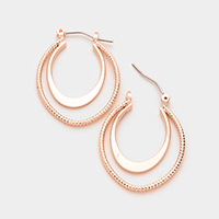 Geo double hoop pin catch earrings