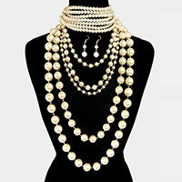 2 PCS - Pearl Choker & 5 Layered Pearl Armor Bib Necklace