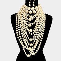 2 PCS - Pearl Choker & Multi Layered Pearl Armor Bib Necklace
