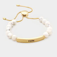 Faith _ Semi Precious Stone Metal Bar Bracelet