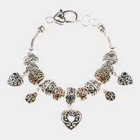 Embossed Multi Bead Heart Bracelet