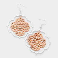 Textured Filigreed Double Quatrefoil Dangle Earrings