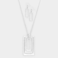 Hammered Triple Rectangle Metal Pendant Necklace