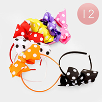 12 PCS - Oversized Dot Bow Headbands