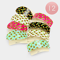 12 PCS - Oval & Square Pineapple Hair Barrette Clips
