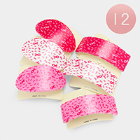 12 PCS - Oval & Square Pink Ribbon Hair Barrette Clips