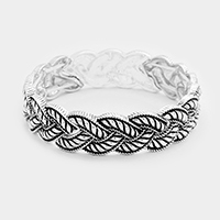 Embossed Twist Shape Metal Stretch Bracelet