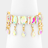 Marquise Glass Crystal Teardrop Dangle Stretch Bracelet