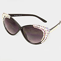 3-Row Crystal Accented Cat Eye Sunglasses