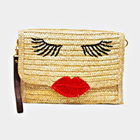 Face Straw Clutch Bag