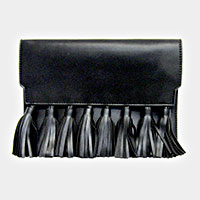 Faux Leather Fringe Tassel Clutch Bag