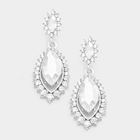 Pave Crystal Rhinestone Dangle Earrings