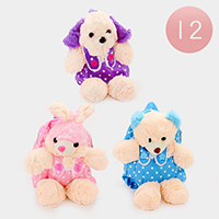 12 PCS - Polka Dot Animal Dolls Backpack