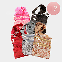 12 PCS - Rose Print Cross Bags