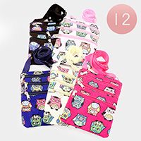 12 PCS - Owl Print Cross Bags