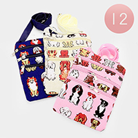 12 PCS - Anchor & Dog Print Cross Bags
