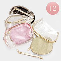 Glittered Clear Double Zipper Pouch Bags