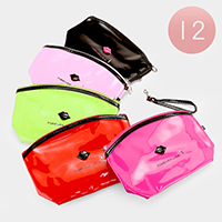12PCS - Forever Love _ Lip & Lipstic Enamel Zipper Pouch Bags
