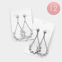12 Pairs - Pave Rhinestone Teardrop Earrings