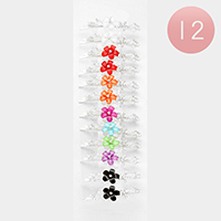 12 PCS - Pave Crystal Flower Bobby Pins