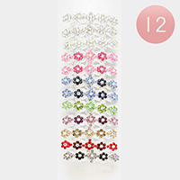 12 PCS - Pave Crystal Flower Hair Barrettes