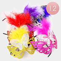 12 PCS - Glitter butterfly Feather Masquerade Masks