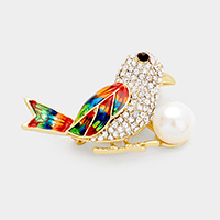Pave Crystal Rhinestone Bird with Pearl Pin Brooch