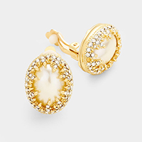 Pave Rhinestone Oval Pearl Clip on Earrings