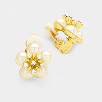 Pave Rhinestone Flower Pearl Clip on Earrings