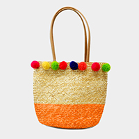 Two Tone Straw Multi Colored Pom Pom Tote Bag
