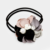Fabric Flower with Pearl & Stone Hair Band / Bracelet