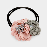 Fabric & Thread Double Flower With Stone Hair Band / Bracelet