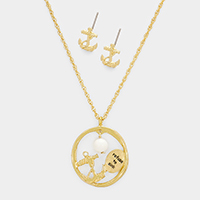 Refuse to Sink _ Anchor Dangle Bead Round Pendant Necklace