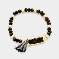 Multi Beaded Rectangle with Tassel Stretch Bracelet