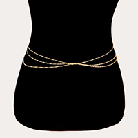 Draped Skinny Chain Belt