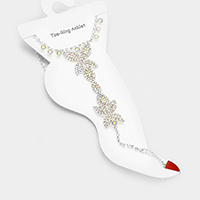 Crystal Rhinestone Butterfly Anklet with Toe Ring Foot Chain