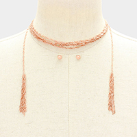 Layered Drop Chain Tassel Choker Necklace