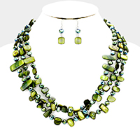 3 Layered Shell & Bead Strand Necklace