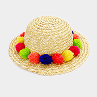 Rainbow Pom Pom Short Brim Straw Sun Hat