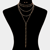 Layered Ball Chain Y Necklace