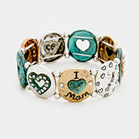 I love mom _ Hammered Metal Round Stretch Bracelet