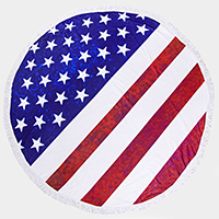 American Flag _ Round Beach Towel