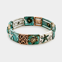Hammered Metal Sealife Theme Stretch Bracelet