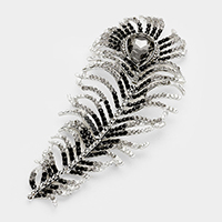 Crystal Rhinestone Oversized Feather Brooch