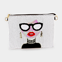 Sequin Woman Face Clutch Bag