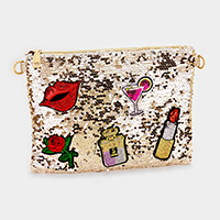 Sequin Cosmetic Theme Clutch Bag