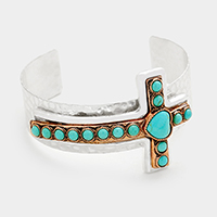 Cross with Turquoise Metal Cuff Bracelet