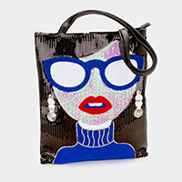 Sequin Woman Face Tote Bag